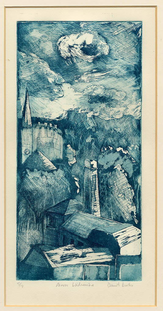 Etching of a townscape looking across Widcombe, Bath, England