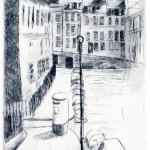 Drypoint print showing Bennett Street in Bath, England