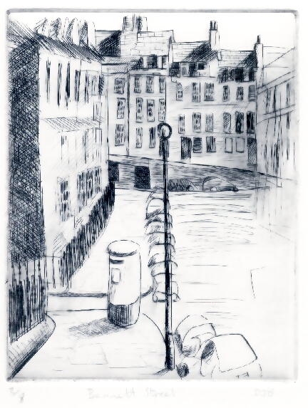 Drypoint print showing Bennett Street in Bath, England