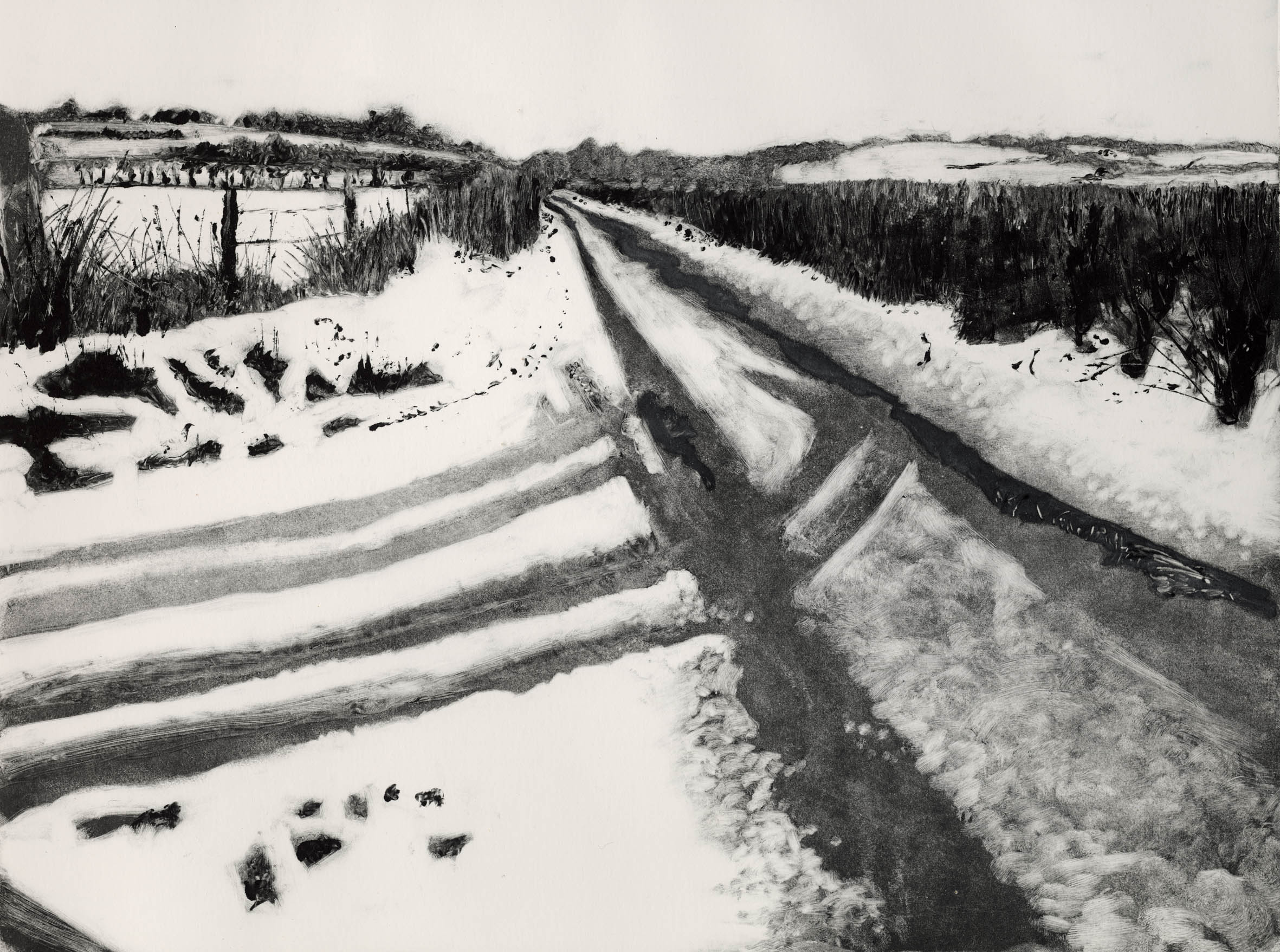 Monotype titled Snow at Southstoke printed in 2009